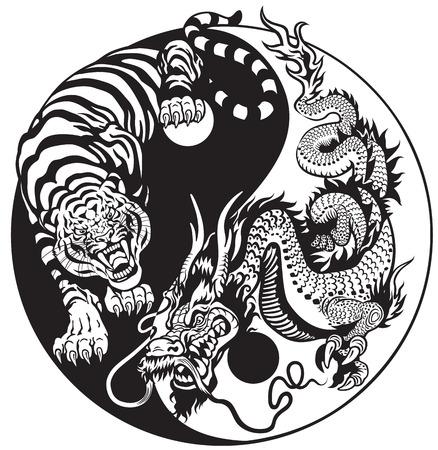 龍と虎の陰陽シンボルの調和とバランス。黒と白