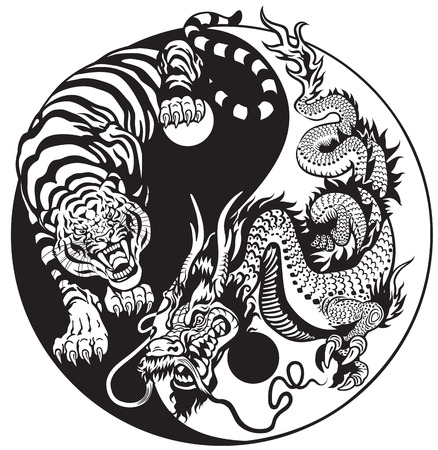 dragon and tiger yin yang symbol of harmony and balance. Black and white