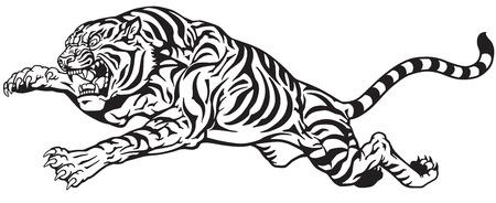 El salto del tigre. gato grande agresiva. vector del tatuaje blanco y negro Ilustración de vector