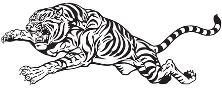 jumping tiger. Aggressive big cat. Black and white tattoo vector Stock Illustratie