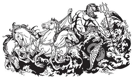 neptuno: Poseidón o Neptuno, dios del mar que conduce un carro tirado por cuatro caballos de mar hippocamp. Ejemplo blanco y negro del vector