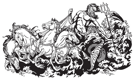 king neptune: Poseidon or Neptune god of the sea driving a chariot pulled by four seahorses hippocamp. Black and white vector illustration