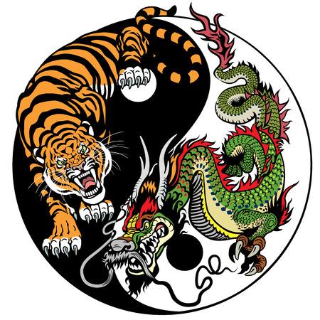 Draak en tijger yin yang symbool van harmonie en evenwicht. vector illustratie Stockfoto - 68871566