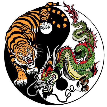 dragon and tiger yin yang symbol of harmony and balance. Vector illustration Vettoriali