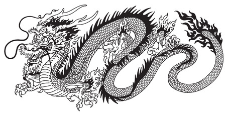 chinese dragon black and white tattoo Çizim