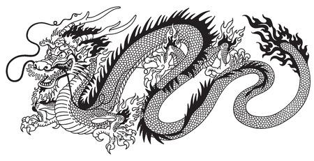 chinese dragon black and white tattoo Vettoriali