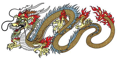 Chinese draak zijaanzicht vector geïsoleerd op wit