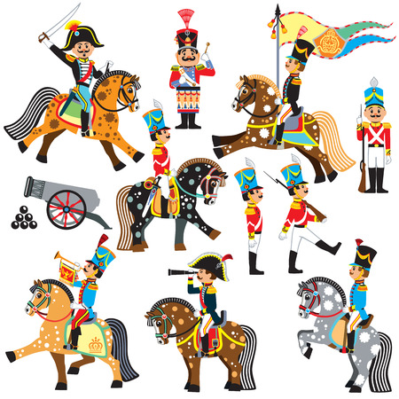 cartoon soldiers toys of Napoleonic era. Infantry and cavalry army for little kids .Vector isolated on white