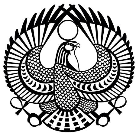 horus: Halcón antiguo símbolo egipcio de dios Horus. Negro y blanco vector tatuaje Vectores