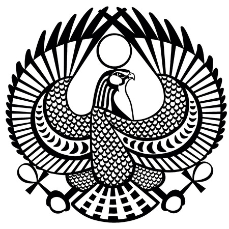 Falcon ancient Egyptian symbol of god Horus .Black and white vector tattoo