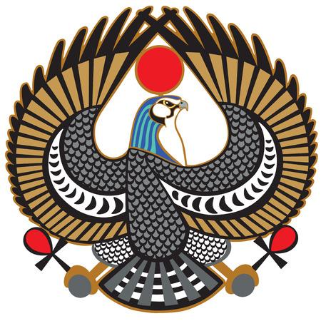 Falcon ancient Egyptian symbol of god Horus .Vector isolated on white Illustration