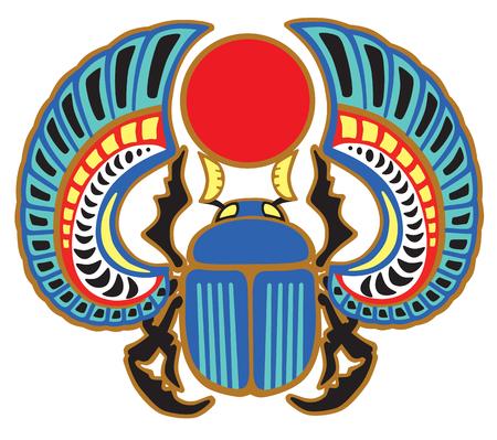 Egipski skarabeusz chrząszcz. Wyrzucony bug symbol słońca w starożytnym Egipcie