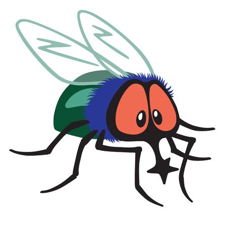Cartoon fly owadów wyizolowanych na białym tle