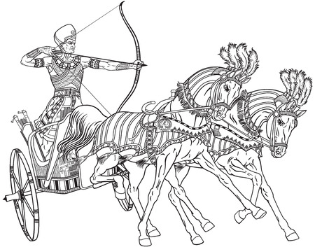 ancient Egypt two-wheeled chariot pulled by two horses carrying a warrior Pharaoh armed with bow. Black and white outline vector illustration