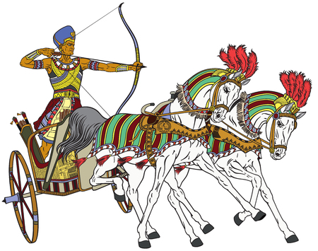 ancient Egypt two-wheeled chariot pulled by two horses carrying a warrior Pharaoh armed with bow. Isolated vector illustration