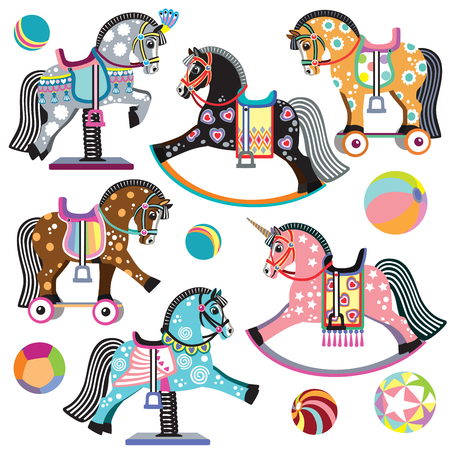 cartoon set of pony toys. On wheels, rocking and spring horses for baby and little kid. Isolated vector illustration
