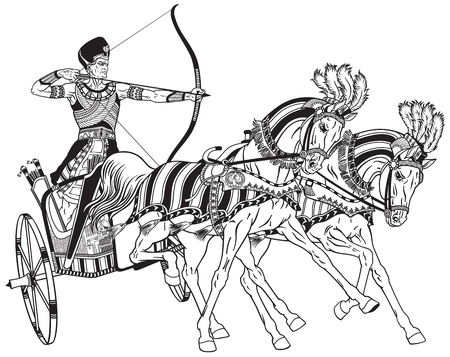 ancient Egypt two-wheeled chariot pulled by two horses carrying a warrior Pharaoh armed with bow. Black and white vector illustration