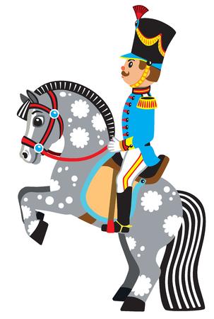 Soldato di cartone animato seduto su un cavallo da allevamento. Illustrazione vettoriale di vista laterale per i bambini piccoli