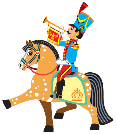 napoleon: Cartoon soldier trumpeter sitting on a horse and blowing a bugle. Side view vector illustration for little kids
