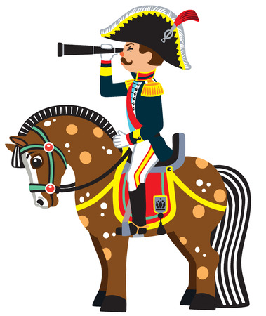 looking at view: Soldier sitting on a horseback and looking through the binoculars . Side view vector illustration for little kids Illustration