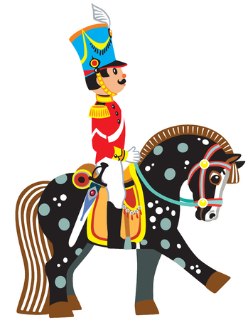 cartoon soldier riding a black horse. Side view vector illustration for little kids