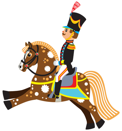 grenadier: Cartoon soldier riding a horse , side view isolated vector illustration