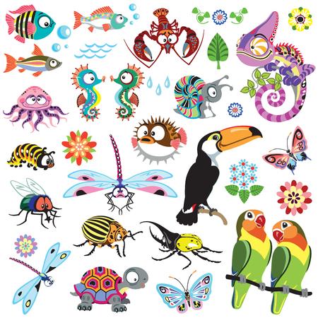 set van cartoon wilde dieren
