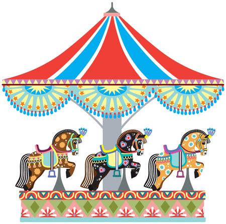 装飾された馬と漫画サーカスのラウンド アバウト交差点のカルーセル。白で隔離のベクトル図  イラスト・ベクター素材