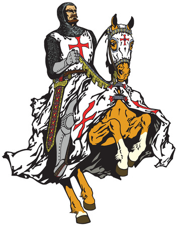 medieval knight of Templar order riding a horse in gallop Illustration