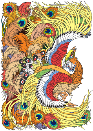 phoenix or feng huang mythological bird . Vector illustration