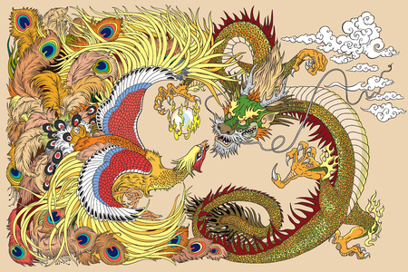 Chinese dragon playing with a pearl ball. Çizim