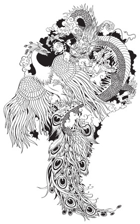 Chinese dragon and phoenix feng huang playing with a pearl ball . Black and white tattoo illustration