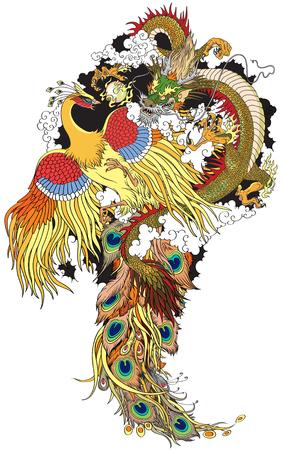 Dragón chino de jade y feng huang de oro huang jugando con una bola de perlas. Ilustración del tatuaje