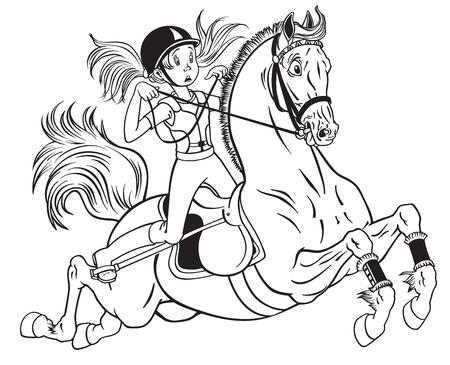 cartoon klein meisje met een pony paard. Zwart en wit vectorillustratie Stock Illustratie