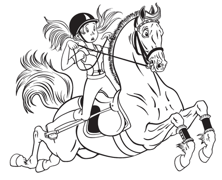 cartoon little girl riding a pony horse. Black and white vector illustration