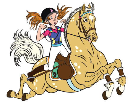 A cartoon little girl riding a pony horse illustration. Ilustração