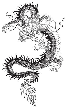 Una ilustración vectorial de un dragón chino. Ilustración del tatuaje blanco y negro. Foto de archivo - 83424967