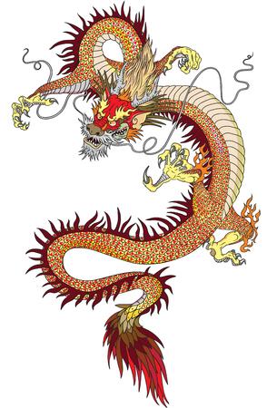 Chinese draak tattoo geïsoleerd op wit Stock Illustratie