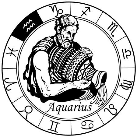 Waterman astrologische horoscoop teken in het dierenriem wiel. Zwart en wit vectorillustratie