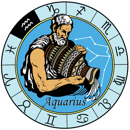 aquarius astrological horoscope sign in the zodiac wheel Çizim
