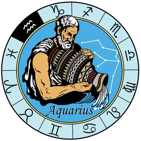aquarius astrological horoscope sign in the zodiac wheel Illustration
