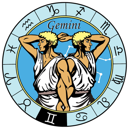 gemini astrological horoscope sign in the zodiac wheel
