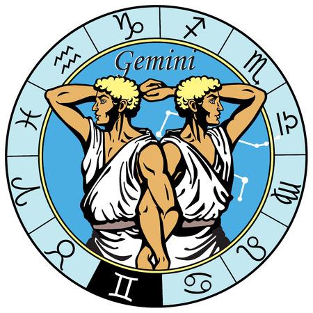 gemini astrologiczny horoskop podpisania w zodiaku koła Ilustracje wektorowe