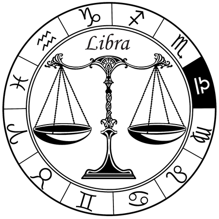 libra astrological horoscope sign in the zodiac wheel. Black and white vector illustration Фото со стока - 84252980