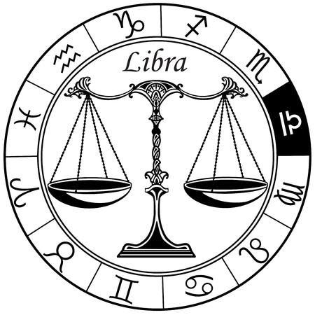 Libra astrologico oroscopo segno nella ruota zodiacale. Illustrazione vettoriale in bianco e nero Archivio Fotografico - 84252980