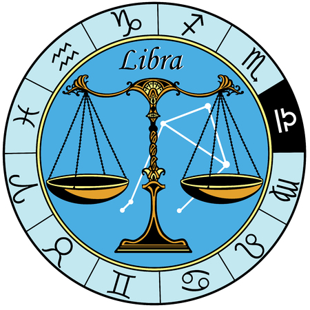 libra: libra astrological horoscope sign in the zodiac wheel