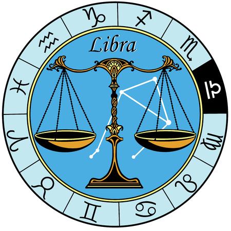 Signe horoscope astrologique libra dans la roue du zodiaque Banque d'images - 84252981