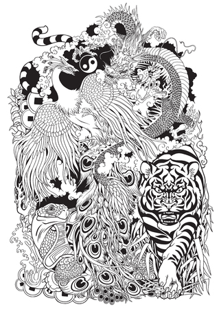 four celestial animals in feng shui. Dragon,phoenix, turtle and tiger. The mythological creatures in the Chinese constellations.Black and white tattoo illustration