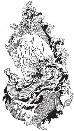 hippocampus o hippocamp del caballo de mar mitológico. Ilustración de vector de tatuaje blanco y negro