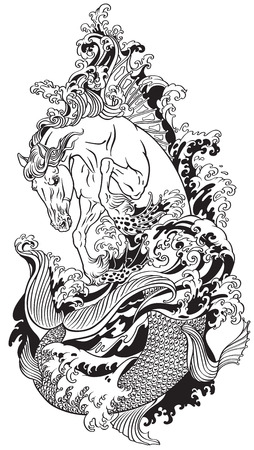 mythological sea horse hippocampus or hippocamp.  Black and white tattoo vector illustration